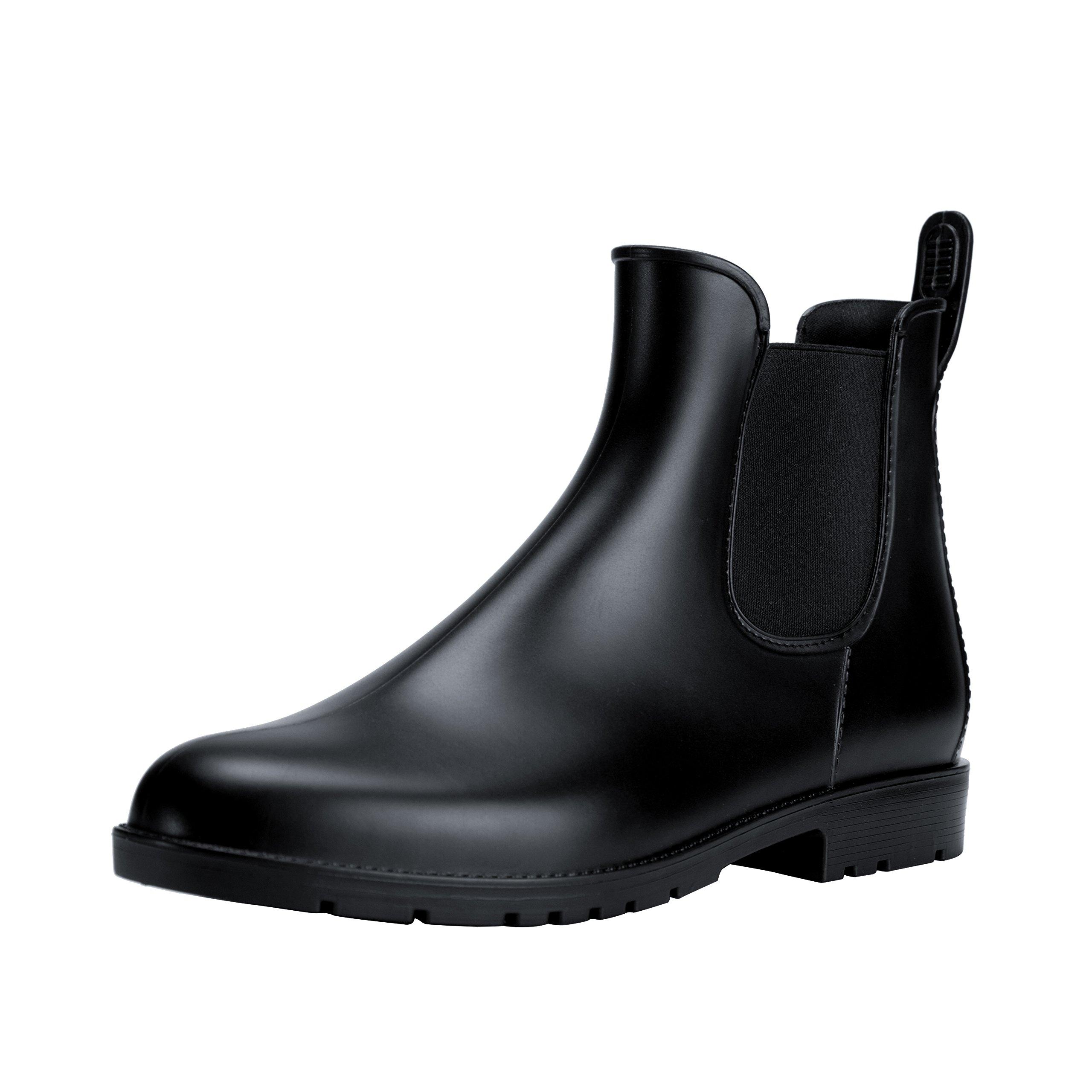 Comwarm Womens Anti Slip Ankle Rain Boots Waterproof Slip On Rain Shoes Elastic Chelsea Black Rain Booties