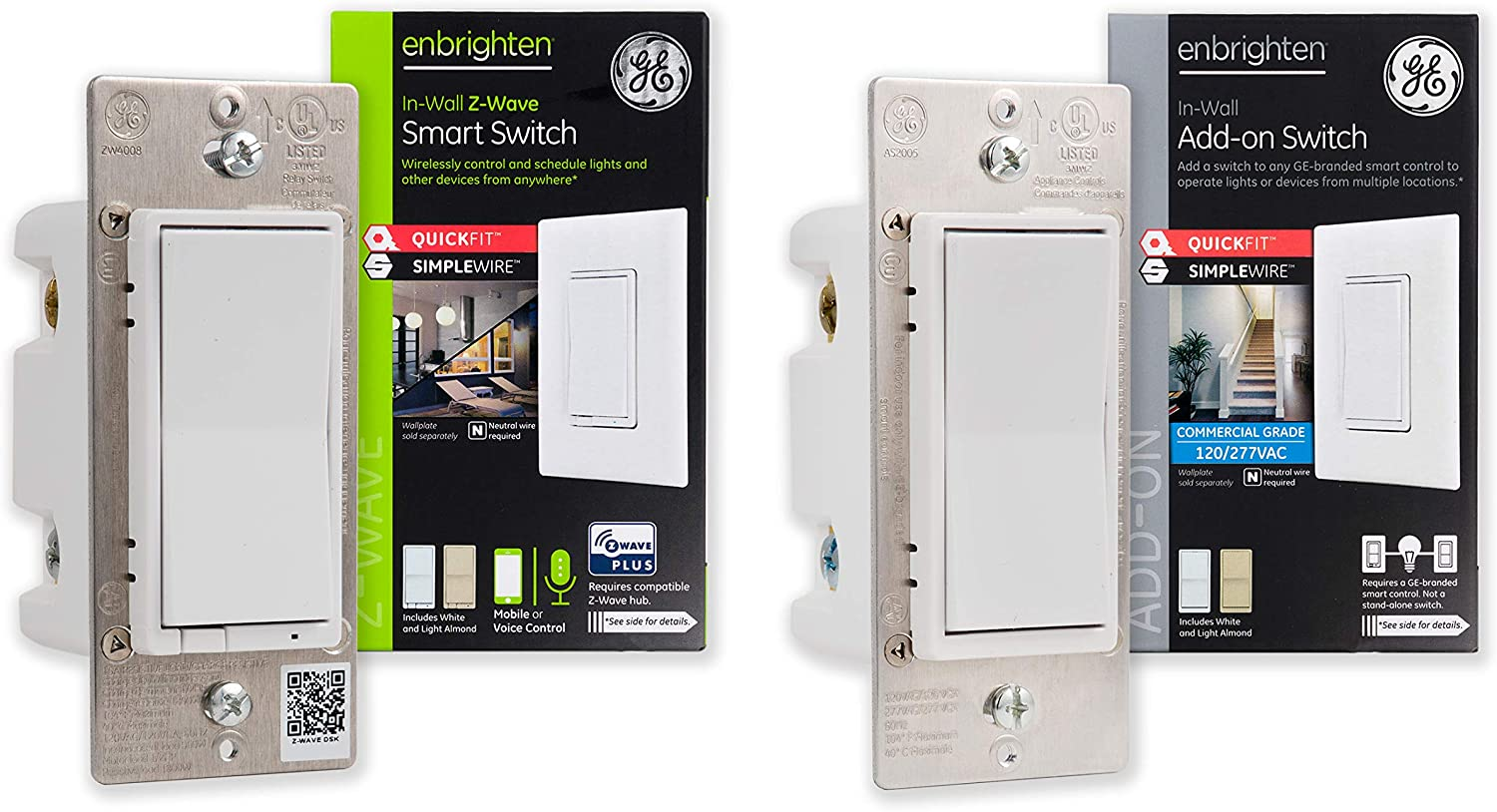 GE Enbrighten Z-Wave Plus Smart Light Switch Kit with QuickFit and SimpleWire, 3-Way Ready, Works with Alexa, Google Assistant, ZWave Hub Required, 1 Switch + 1 Add-On, White & Light Almond, 47863