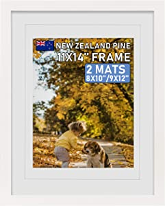 Beyond Your Thoughts Wood + Real Glass (Hang/Stand) 11X14 White Picture Photo Frame with Matted for 8X10 or 9x12 Photo for Wall and Table Top-Mounting Hardware Included(1 Pack)
