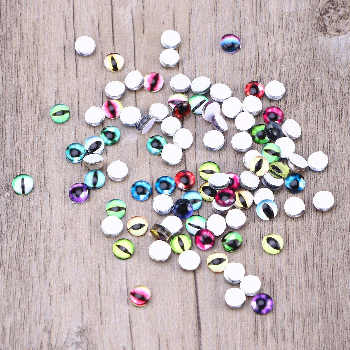 Healifty 100 PCS 6mm Mixed Eye Mosaic Tiles Dome Cabochons Glass Gemstone para Manualidades Fabricaci/ón de Joyas