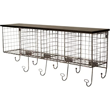 Linon Four Cubby Wall Shelf with 9 Hooks (Black)
