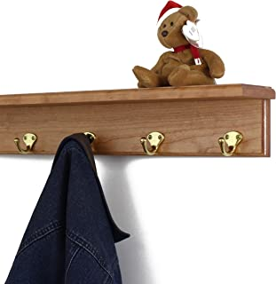 """product image for PegandRail Solid Cherry Shelf Coat Rack with Solid Brass Single Style Hooks (Cherry, 21"""" with 4 Hooks)"""