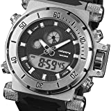 INFANTRY Mens 50mm Big Face Tactical Military Analog Digital Sport Wrist Watch Black Silicone