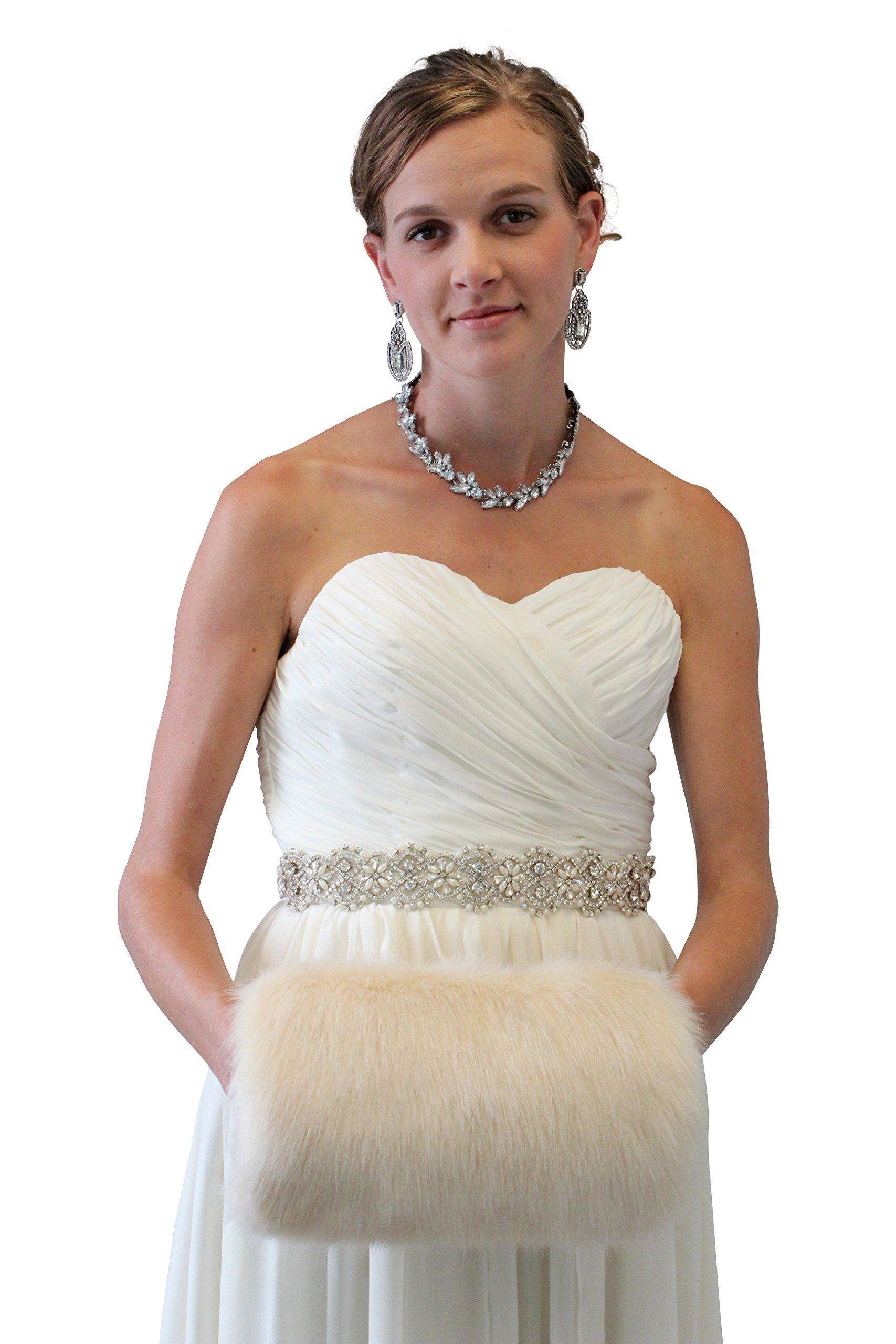 Tion Design Women's Bridal Fur Hand muff, Champagne Wedding Fur Hand Muff L by Tion Design  (Image #2)
