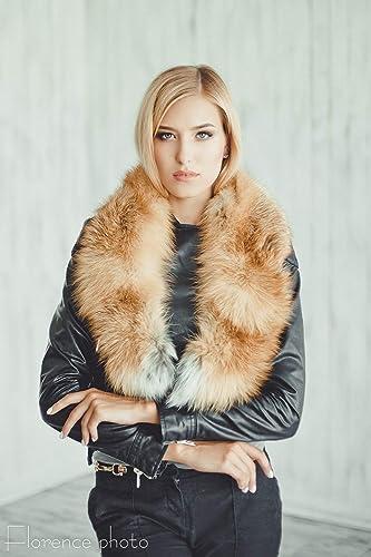 e28438c2f Amazon.com: Real Fur Red Fox Women's collar for winter coat Scarf ...