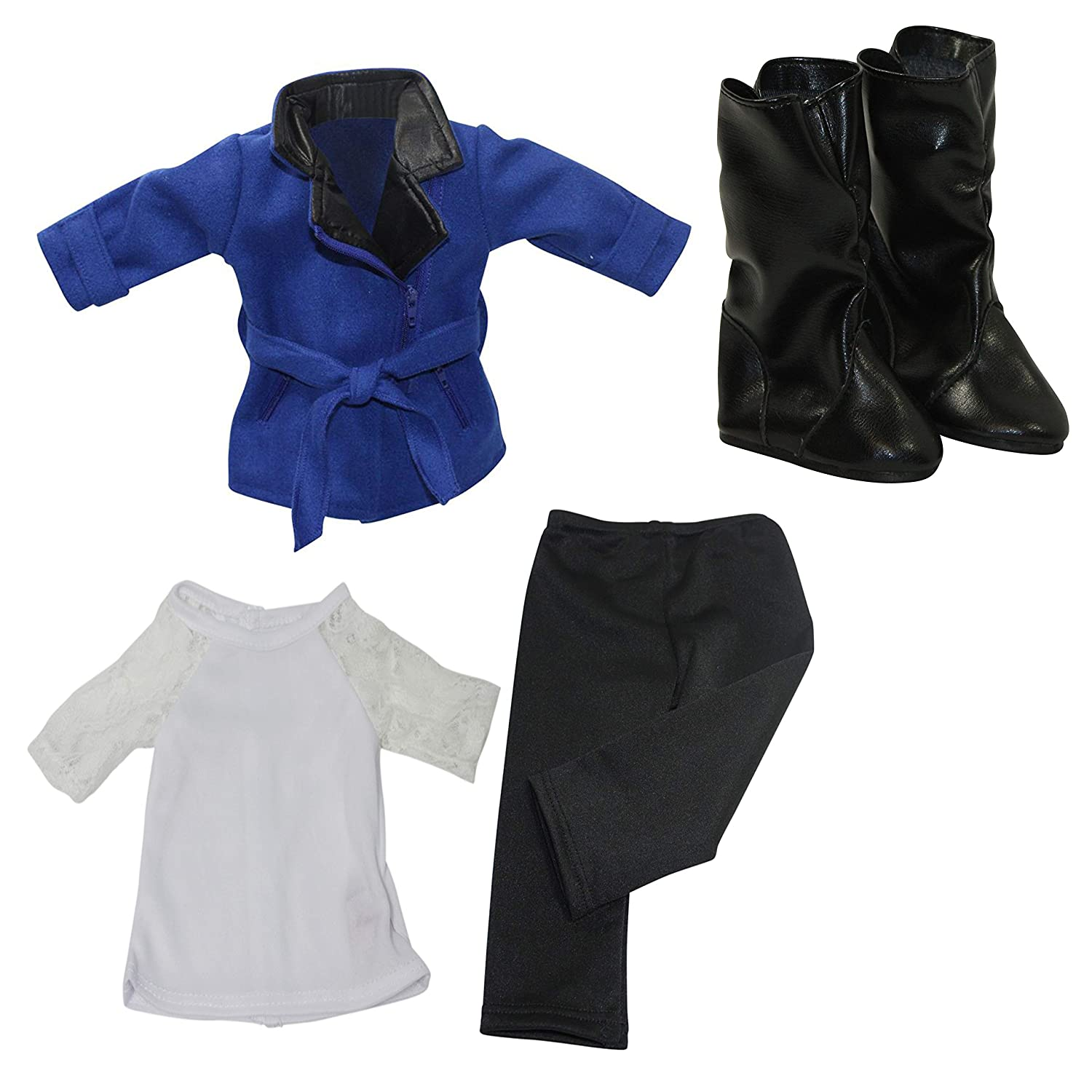White Top with Lace Trim Arianna 4pcs Bundle 18 inch Doll Clothes Black Leggings Black Trendy Boots Fits American Girl Dolls Blue Wool Trendy Coat