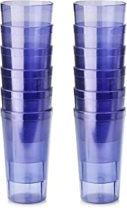 New Star Foodservice 46366 Tumbler Beverage Cup, Stackable Cups, Break-Resistant Commercial SAN Plastic, 16 oz, Blue, Set of 12