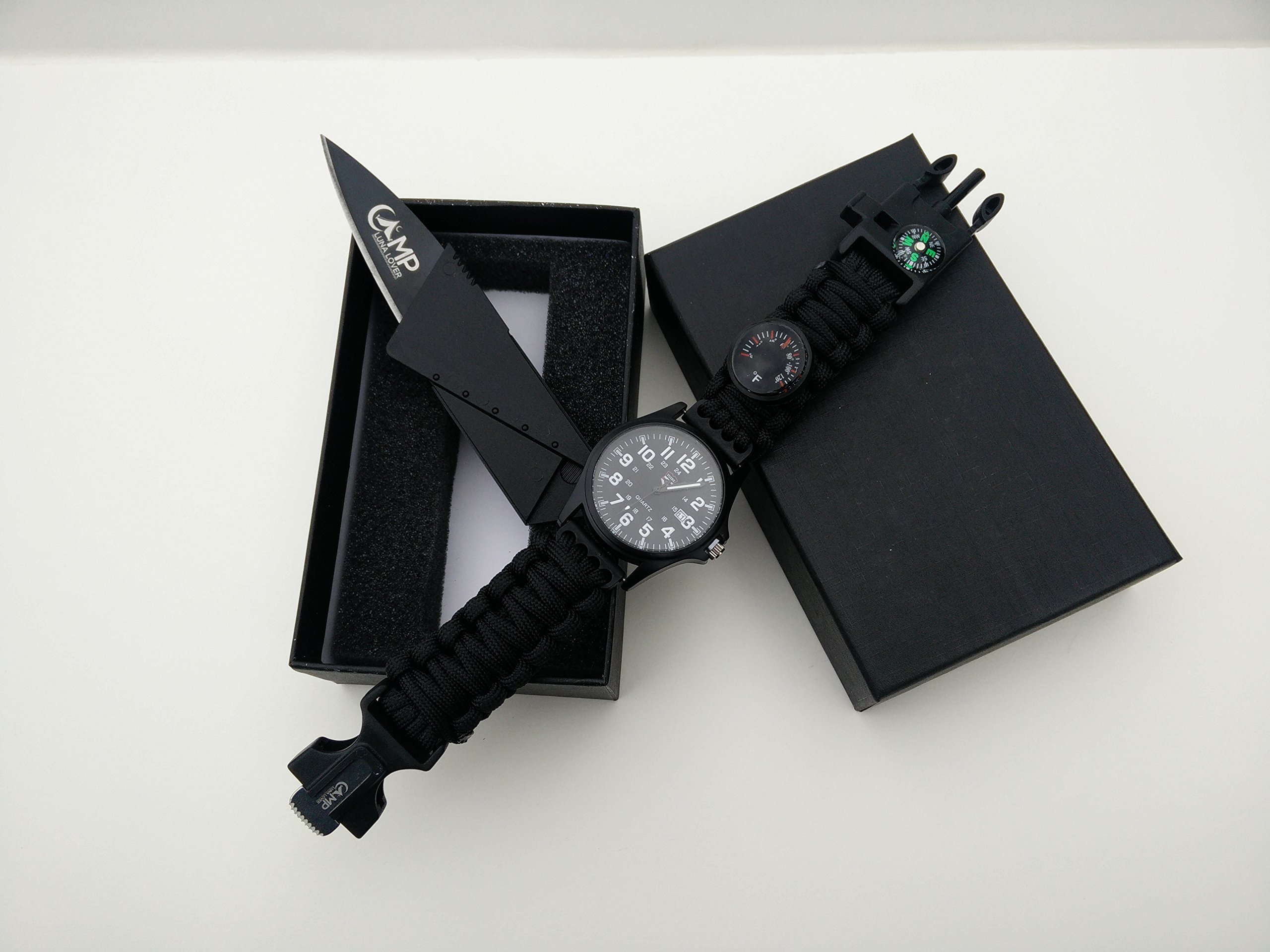 Paracord Survival Watch with FREE credit card knife by Camp Luna Lover
