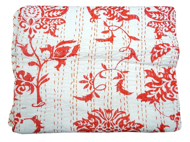 Bhavya International Indian Red Floral Cotton Kantha Quilt Bedspread Throw Twin Size Blanket Gudari Ralli Decor Bedcover