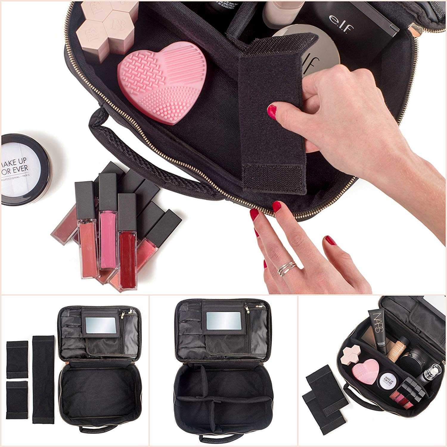 habe Travel Makeup Bag with Mirror - Organize Your Makeup! Make Up Bag Organizer Train Case for Women - Storage Capacity of 3 Cosmetic Bags/Make Up Bags/Make Up Cases (BONUS Make-Up Brush Cleaner) by häbe (Image #3)