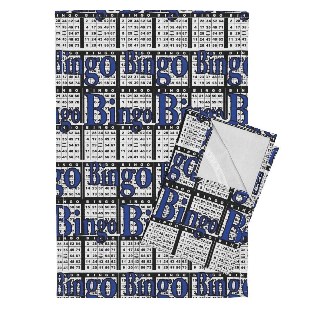 Roostery Bingo Tea Towels Bingo Black Paper With Bingo Text by Dd Baz Set of 2 Linen Cotton Tea Towels by Roostery