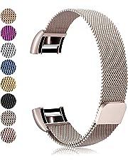 Mornex Bracelet Compatible Fitbit Charge 2, Métal Bande en Acier Inoxydable Réglable Milanaise Remplacment Sangle, Classique Strass Style