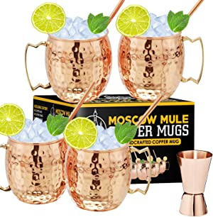 Moscow Mule Copper Mugs - Set of 4, 16 oz Copper Mug Cups, Great Gift Set with 4 Cocktail Copper Straws and Jigger
