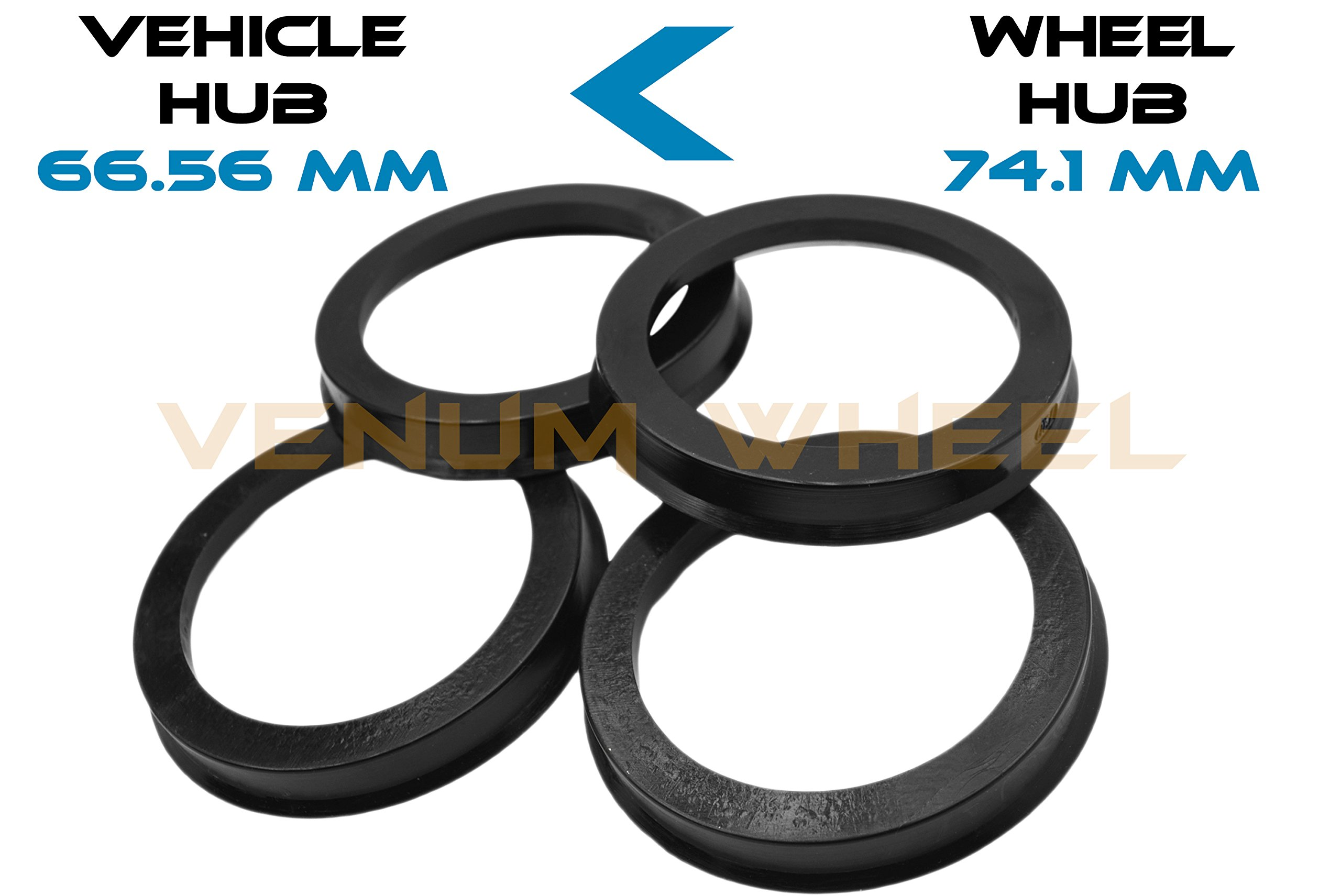 4 Hub Centric Rings 66.56 ID To 74.1 OD Black Polycarbonate Material ( Vehicle 66.56mm to Wheel 74.1mm)