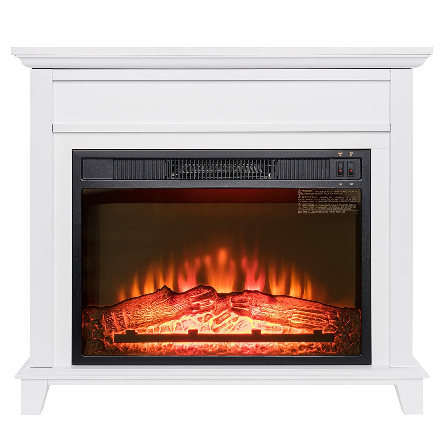 "Amazon.com: Golden Vantage 32"" Freestanding White Wood Finish Electric Fireplace  Stove Heater: Kitchen & Dining"