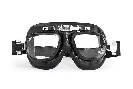 Gafas mascara moto vintage en piel negra y profil de acero con lentes antihumo y antichoque by Bertoni Italy - AF191 ...: Amazon.es: Deportes y aire libre