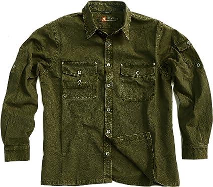 Señor Camisa de exterior robusta overshirt en marrón, Mustard, color verde y caqui, camiseta de manga larga de Cacatúa Australia