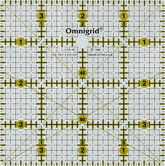 "Quilters Square Set 2 Omnigrid Ruler 4/""x4/"" 4x4"