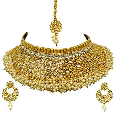 ad787914d Sitashi Gold Plated Antique Rajwadi Imitation Jewellery AD Choker Hasuli Necklace  Set for Girls and Women