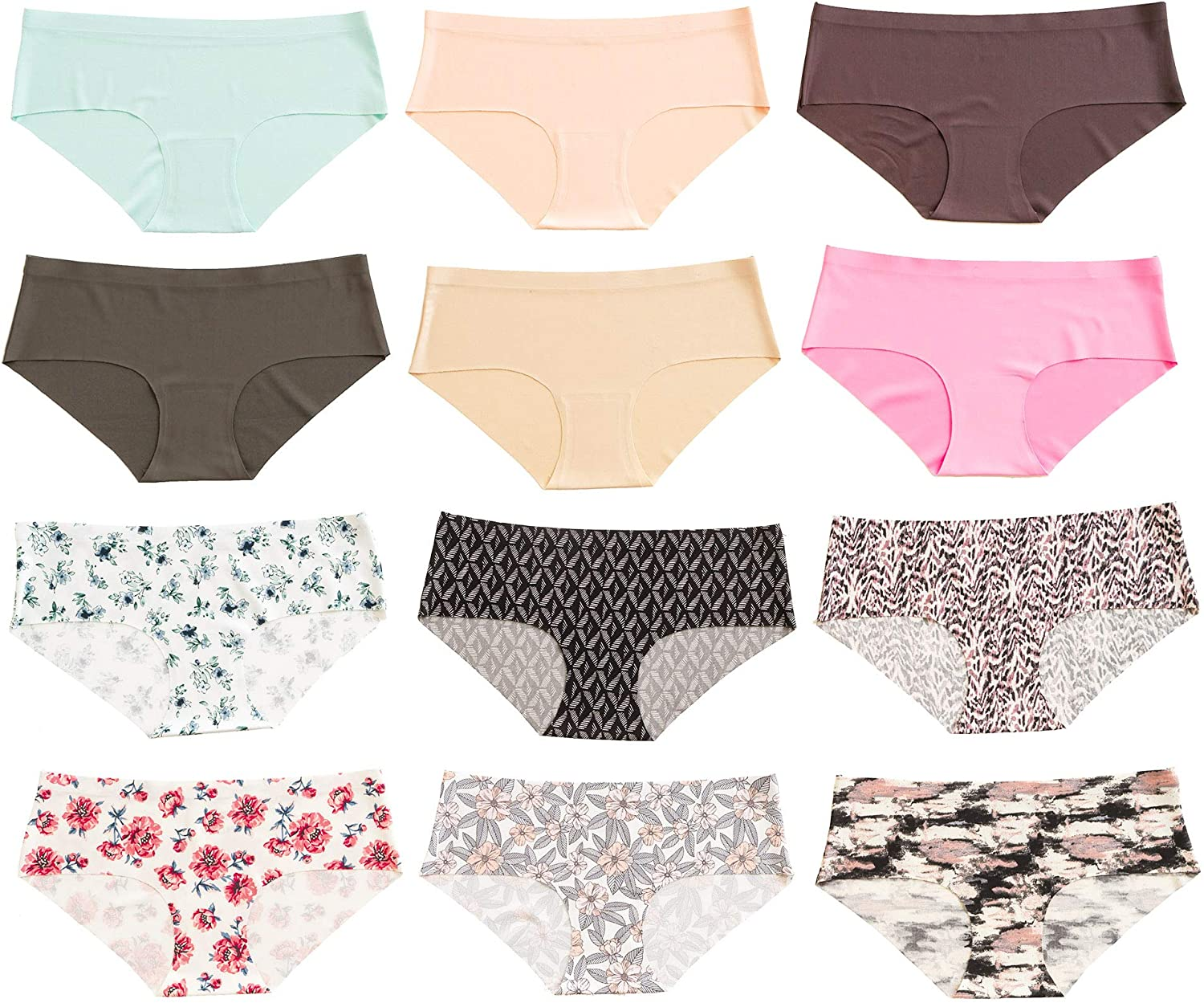 Alyce Intimates Women's Laser Cut Bikini 12 Pack, Assorted Colors