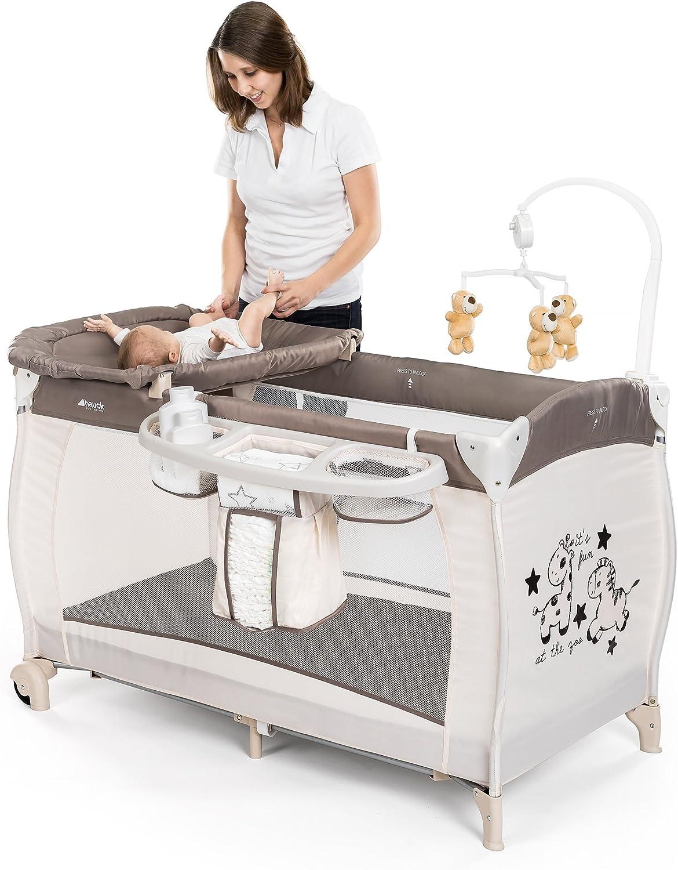 Hauck BabyCenter Zoo – Cuna de viaje dos alturas, con elevador para recién nacidos / Parque Cuna viaje con cambiador, móvil musical, cesta portapañales, ruedas y bolsa de transporte