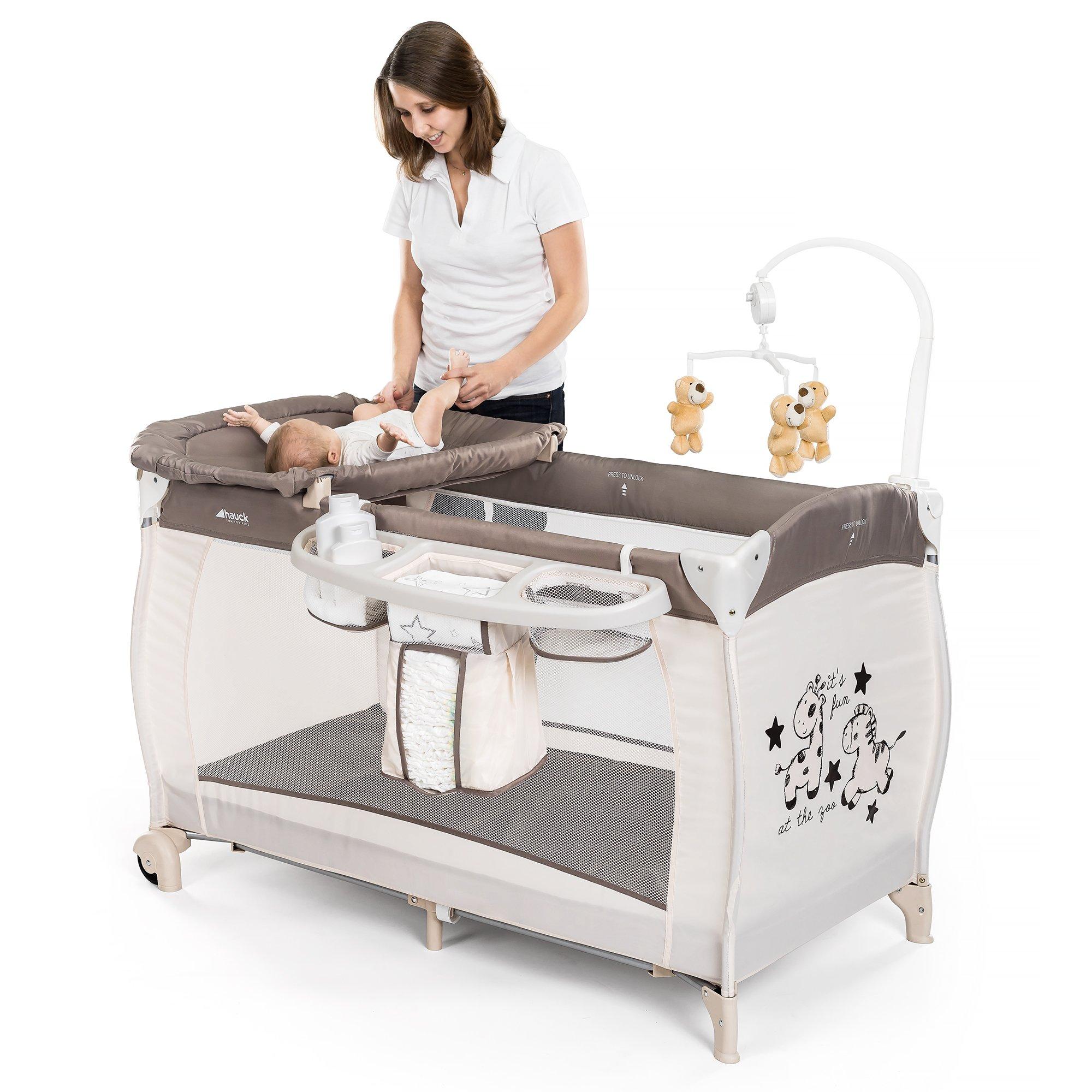 HAUCK – Cuna de viaje para bebé BabyCenter Zoo – Incluye elevador para recién nacidos,
