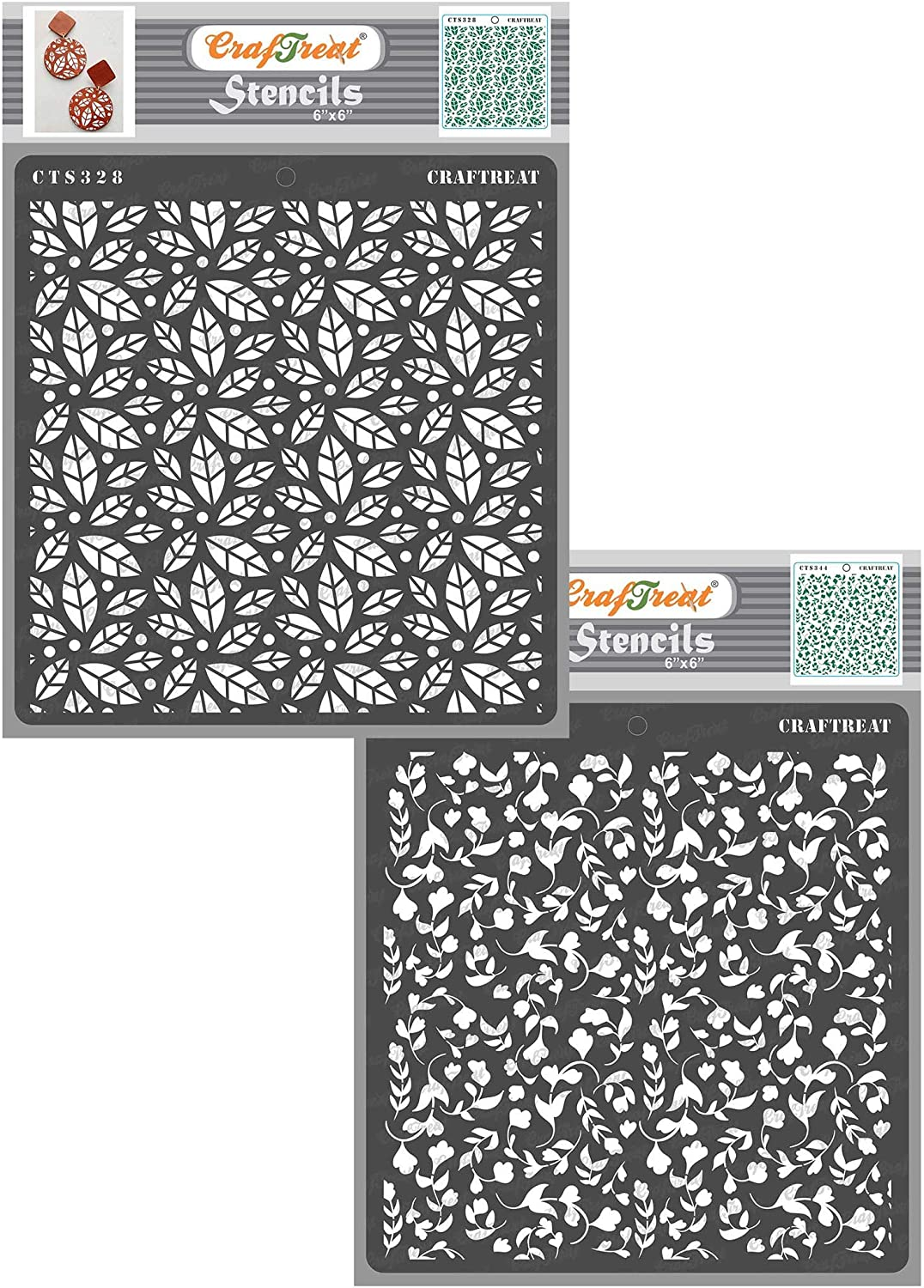 2 pcs - Reusable Painting Template for Home Decor Wall Crafting Fabric DIY Albums Wood 6x6 inches Scattered Leaves and Foliage2 Scrapbook and Printing on Paper Tile CrafTreat Stencil