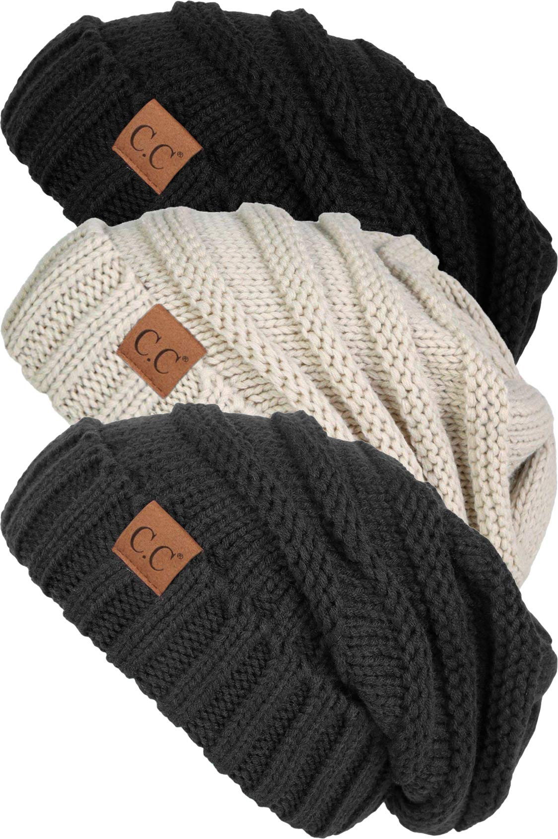 H-6100-3-066066 Oversized Beanie Bundle - Black, Beige, Melange Grey (3 Pack)
