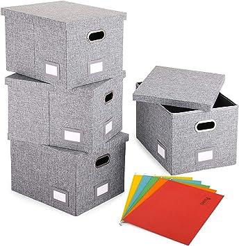 Magicfly - Caja de archivos decorativa con tapa | organizador de almacenamiento plegable | Lima de lino y papelera de oficina: Amazon.es: Oficina y papelería