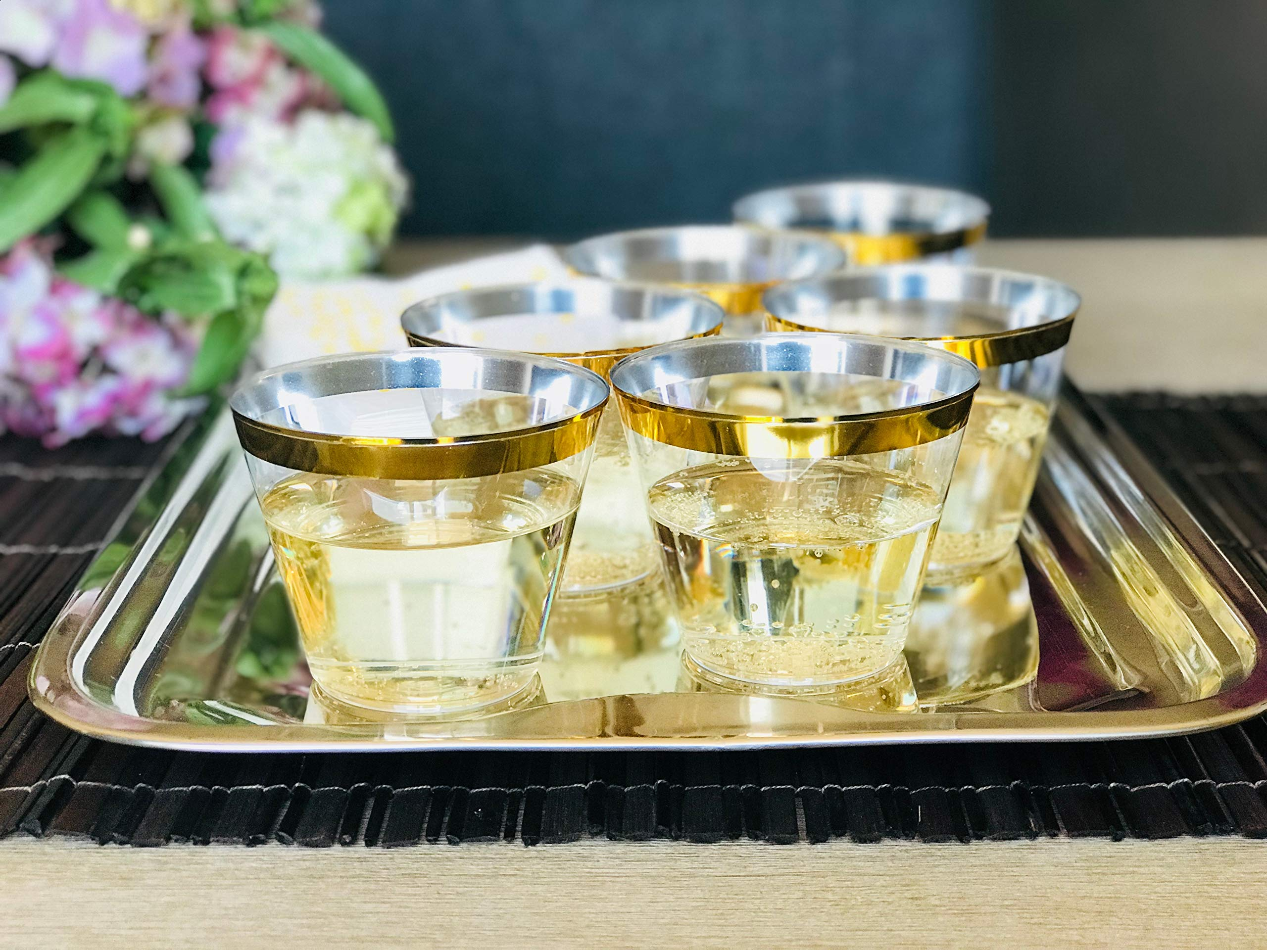 Premium 100 Gold Rimmed 9 oz Clear Plastic Cups + Free 100 Napkins ~ Perfect for Wedding/Engagement/ Cocktails/Dinner/Wine/Birthday Parties ~ Great Value Party Pack 100 Gold Rim Cups + 100 Napkins by Premium Party Supplies (Image #6)