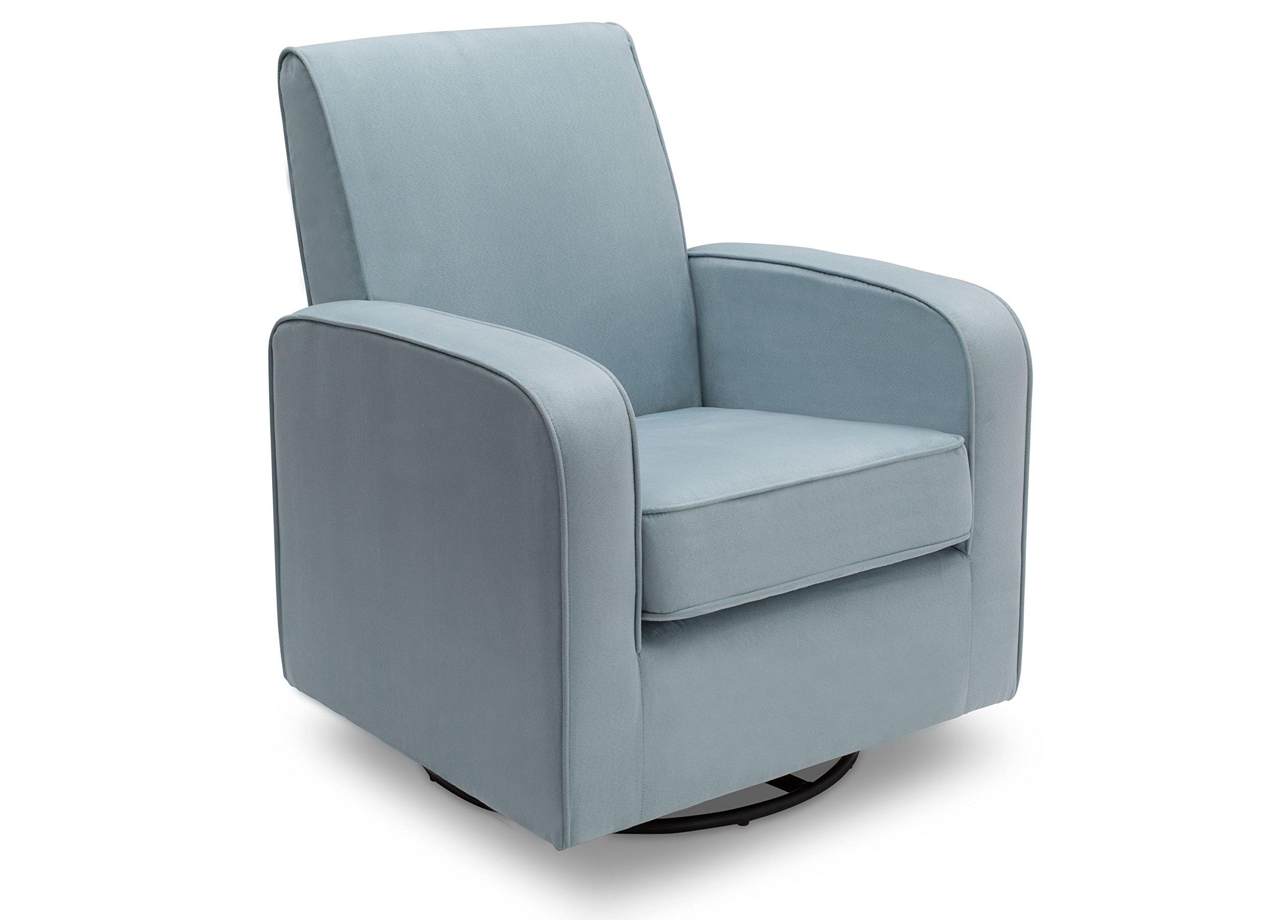 Delta Furniture Chloe Upholstered Glider Swivel Rocker Chair, Frozen Blue