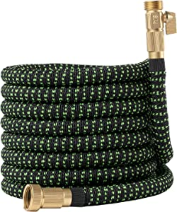 Garden Hose Flexible Expandable Retractable, GreenFriendlyHome Kink Free Expanding Water Hose, Strongest Hose Fabric Lightweight Hose (75 FT Black Green)
