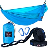Premium Double Camping Hammock Complete Set - BONUS Adjustable Tree Straps w/ 21 Loops + Aluminum Carabiners - Strong, Lightweight & Portable Nylon Parachute Hammock for Travel, Backpacking, Outdoor