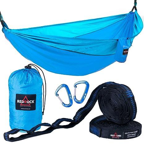 premium double camping hammock  plete set   bonus adjustable tree straps w  21 loops   amazon    premium double camping hammock  plete set   bonus      rh   amazon