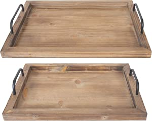 "Besti Rustic Vintage Food Serving Trays (Set of 2) | Nesting Wooden Board with Metal Handles | Stylish Farmhouse Decor Serving Platters | Large: 15 x2 x11"" - Small: 13 x2 x9"" inches (Rustic Burnt)"