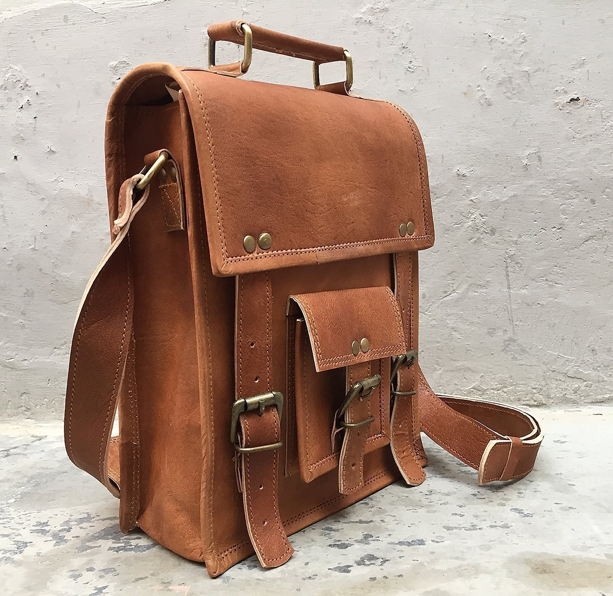 Handmade Brown genuine Leather Crossbody satchel shoulder Messenger briefcase ipad bag 13 inch mens women's