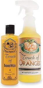 Touch of Oranges Beeswax Wood Polish Conditioner, Cleaner & Restorer Bundle Hardwood Floor Cleaner Spray Real Orange Oil - (32 & 16 oz )