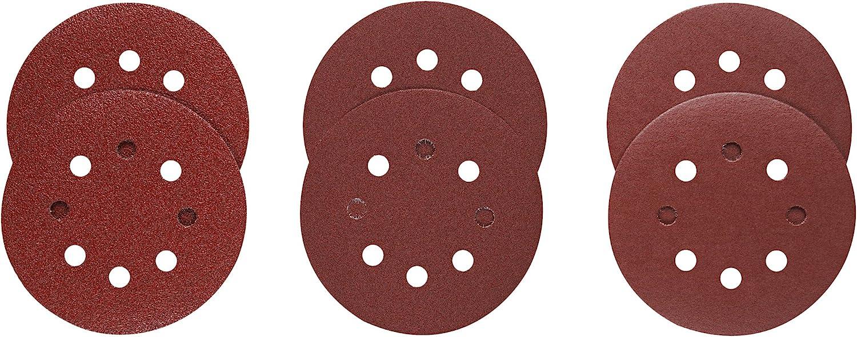 Bosch SR5R000 5, 60, 120, & 240 Assorted Grits, 8-Hole Hook & Loop Sanding Discs by Bosch