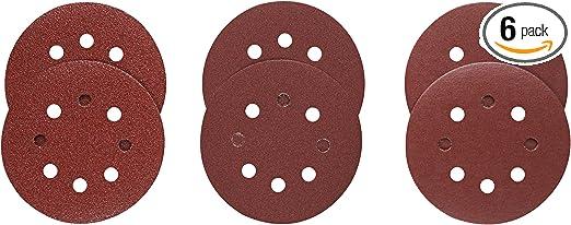 "5/"" 8 Hole 120 Grit Sand Disc Paper Random Orbit Hook and Loop For Dewalt 5pc"