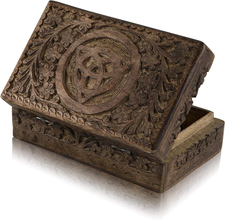 Great Birthday Gift Ideas Handmade Decorative Wooden Jewelry Box Jewelry Organizer Keepsake Box Treasure Chest Trinket Holder Watch Box Storage Box 8 x 5 Inches Anniversary Housewarming Gifts Women