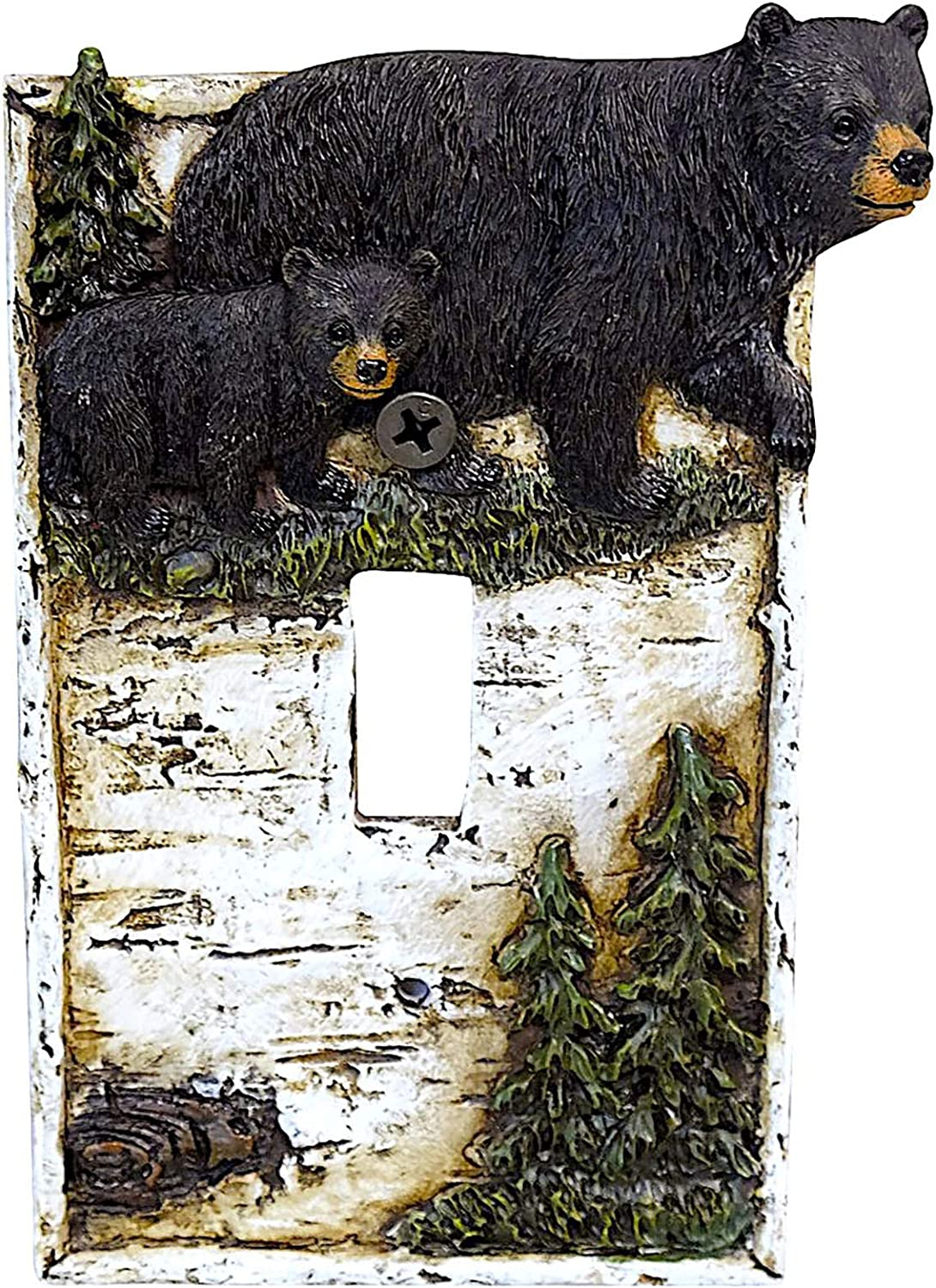 Black Bear on Birch with Pine Trees Single Switch Cover Wall Plate Cabin Lodge Home Decor