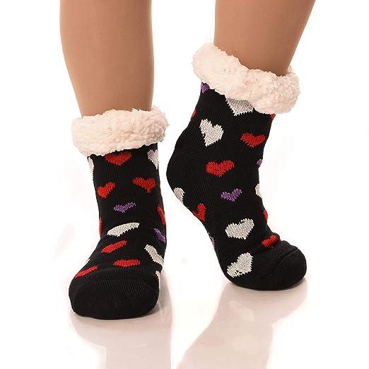 d73d1f951 DEBRA WEITZNER Slipper Socks for Women Men Gripper Cozy Socks Winter Socks  Black Hearts