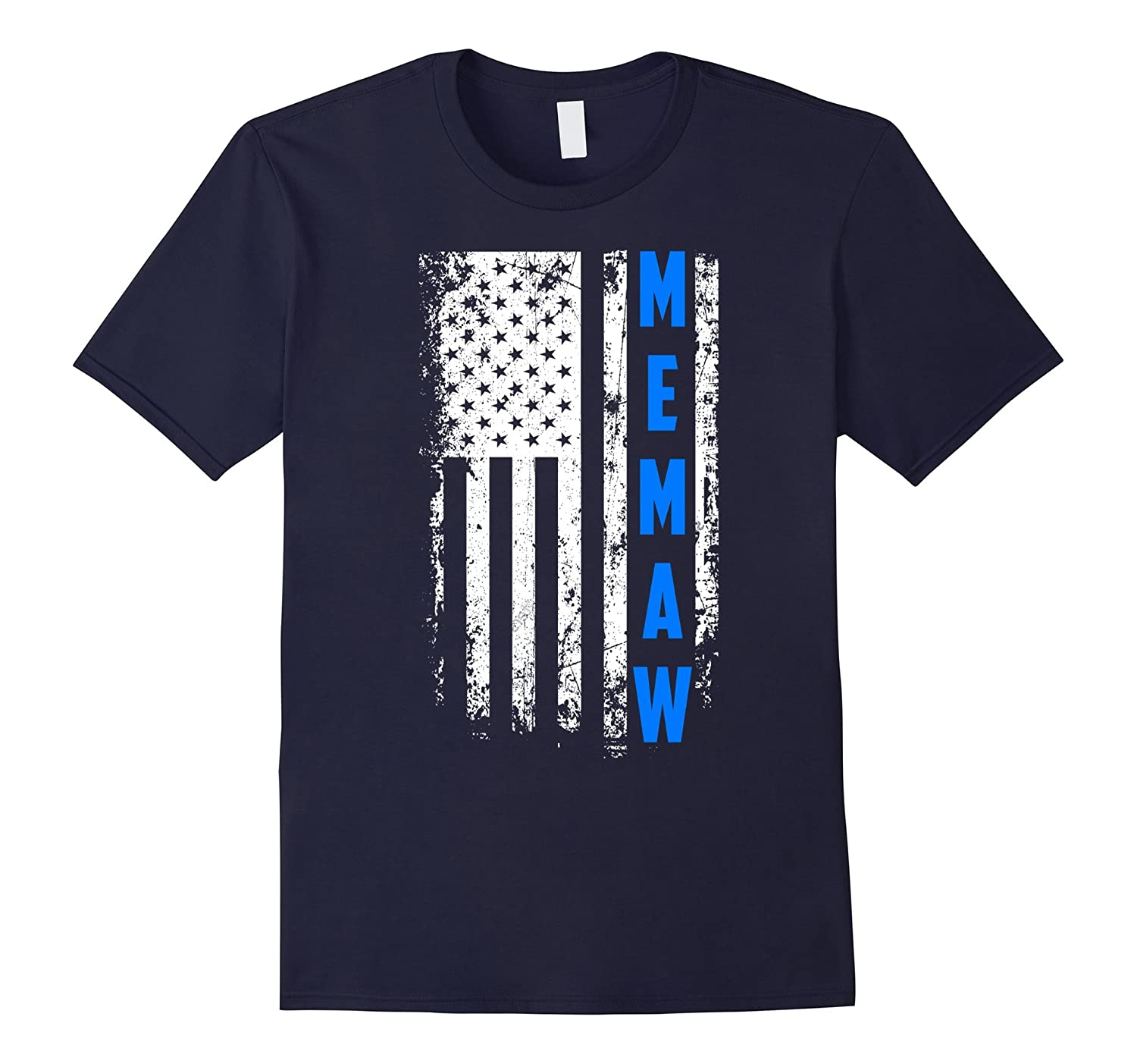 Mothers Day American Blue Memaw Flag t-shirt-Vaci