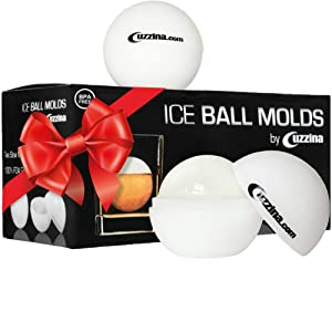 Ice Ball Maker - Sphere Ice Mold Creates Large 2.5 Inch Ice Balls - CUZZINA Ice Ball Mold - Set of 2 Silicone Molds