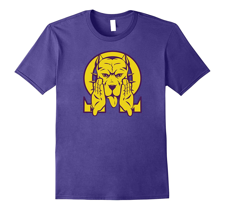 Mens Omega Bulldog Purple Gold Que Atomic Dog Psi Phi T-Shirt 2-T-Shirt