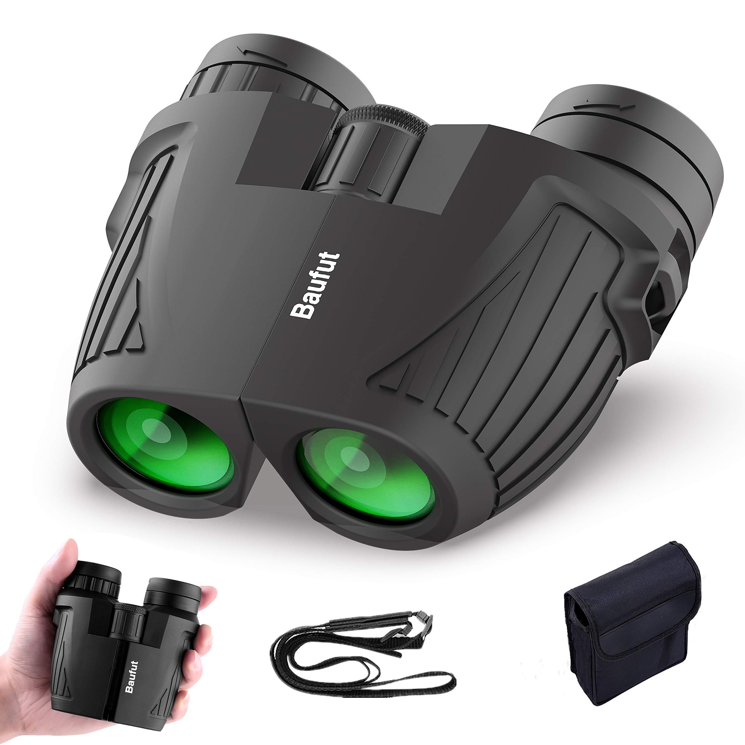Baufut 12X25 Compact Binoculars for Adults Kids with Low Light Night Vision,High Power Waterproof Lightweight Binocular Easy Focus for Outdoor Bird Watching Hunting Concerts (12x25)