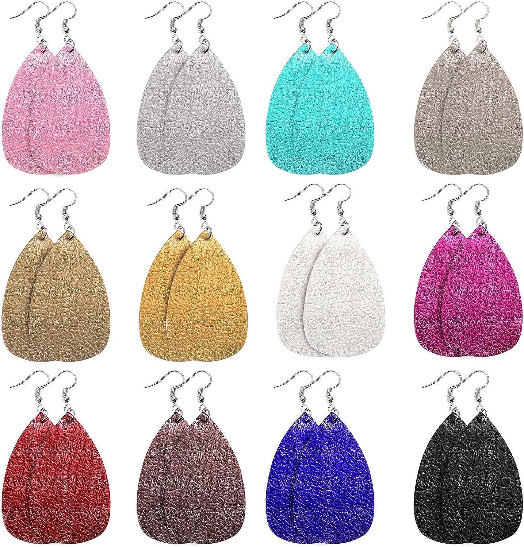 URATOT 12 Pairs Faux Leather Earrings Teardrop Petal Earrings Handmade Leather Earrings with Velvet Storage Bag for Women Gift