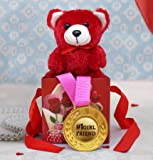 TIED RIBBONS Valentines Gift for Girlfriend, Her (Gold Medal, Cute Teddy in Gift Box)
