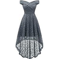 HomRain Vestido Cóctel Vintage A-línea Hi-Lo Elegante Encaje Fiesta Noche Vestido para Mujer