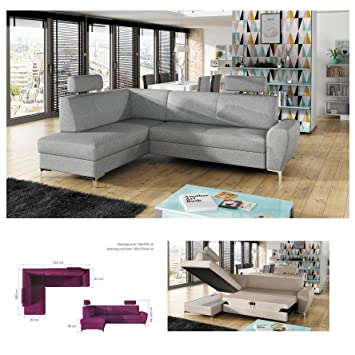 Remarkable Bmf Rino Grey Small Fabric Or Faux Leather Corner Sofa Bed Uwap Interior Chair Design Uwaporg